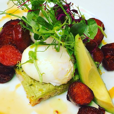 Eden Bar & Grill: Poached eggs and chorizo with lime and cashew butter on fresh sourdough available for brunch