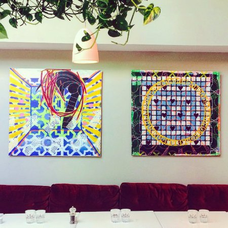 Eden Bar & Grill: 2 pieces hanging in Eden by young Irish artist Leah Hewson