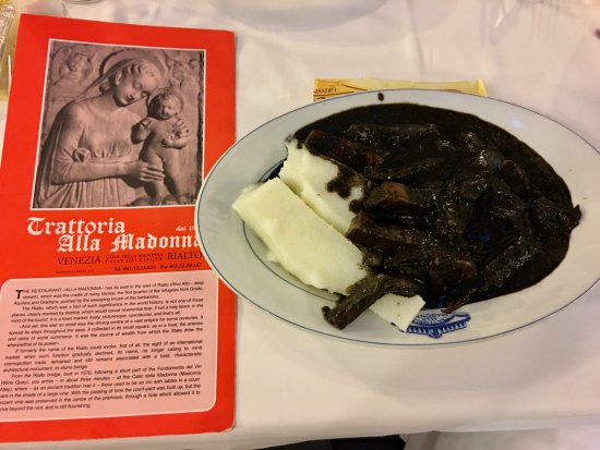 Trattoria alla Madonna: Black Squid with Polenta