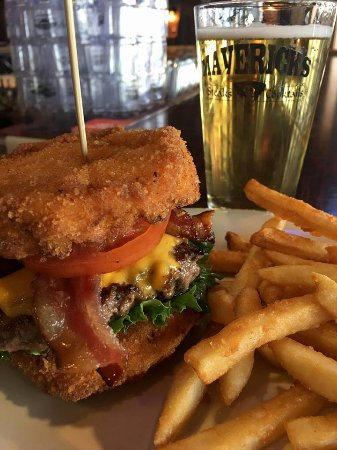 Aberdeen, SD: Fried Mac-n-Cheese burger always paired well with a tap beer from the bar.
