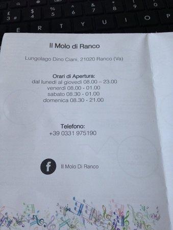 Ranco, Italia: Cafe information