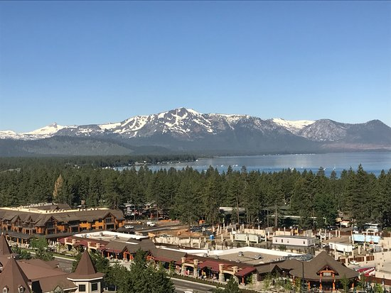 Harrah's Lake Tahoe: view of town and lake from ¼ up the mountain