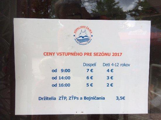 Bojnice, Slovensko: Cennik kupaliska