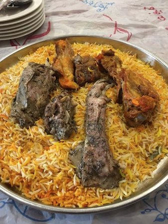 Buried meat (lamb)  The basmati rice was out of this world