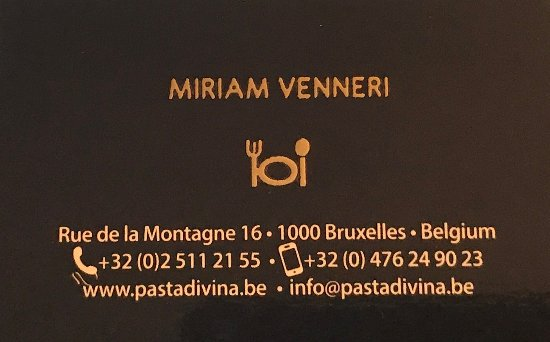 Business card back picture of pasta divina brussels tripadvisor pasta divina business card back reheart Choice Image