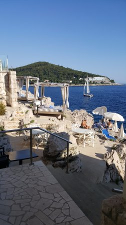 Importanne Resort Dubrovnik: View of the seaside loungers from the On The Rocks bar and grill