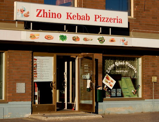 Entrance of Zhino Kebap Pizzeria in the center of Pello in Lapland, Finland