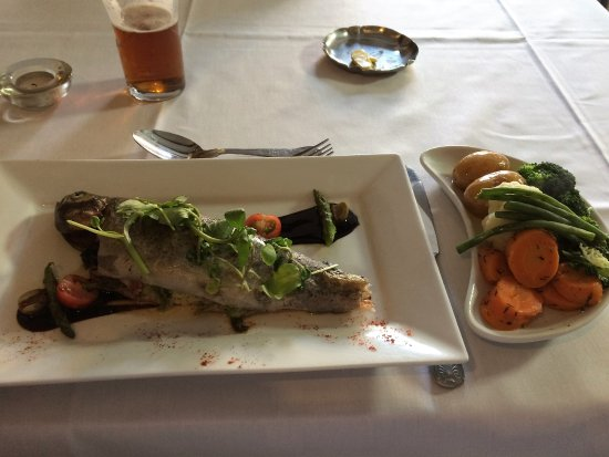 Willenhall, UK: Trout stuffed with bacon and cabbage