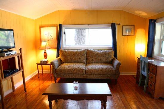 ذا باينز كوتيدجيز: Cabin 14 living room features a fireplace (not seen in photo).