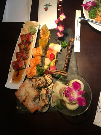 Naugatuck, CT: Combination of 6 rolls served on slate