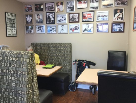 Lakefront Cafe: Our table at back, under the photos.