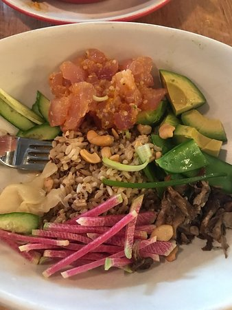 True Food Kitchen Bowls poke bowl with an incredible turmeric ponzu sauce. - picture of