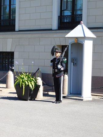 Vaktskifte: Guard on sentry duty