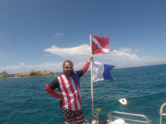 Bolongo Bay, St. Thomas: Instructor Adam (specially dress up like this on 4th July and make trip more memorable )
