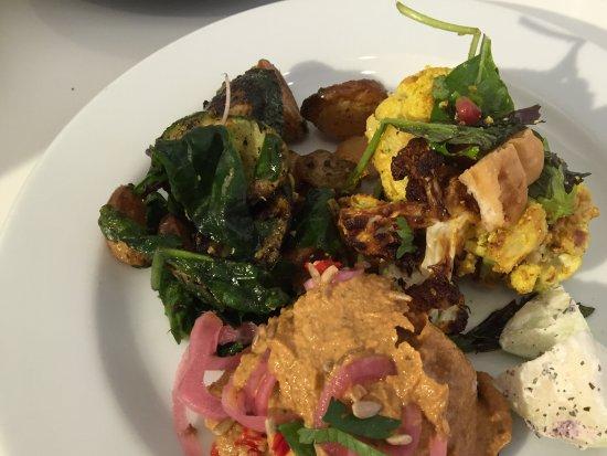Ottolenghi - Islington: Three salad options, plus the kohlrabi taster.