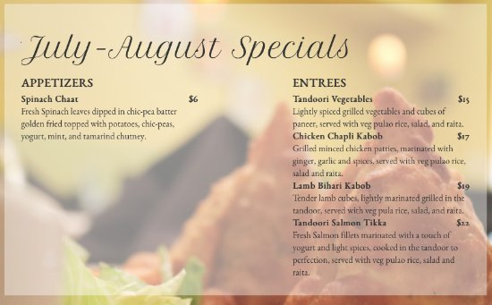 Bala Cynwyd, PA: Saffron Indian Kitchen, July-August Specials (web download)