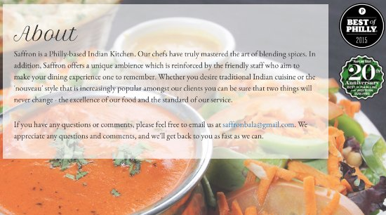 Bala Cynwyd, PA: Intro to Saffron Indian Kitchen (web download)