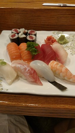 Farmington Hills, MI: Tuna roll with 9 assorted pieces of sushi