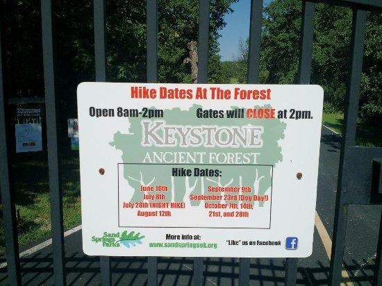 Keystone Ancient Forest : Disappointed in amount of time the forest is open for hiking. Note the hours.