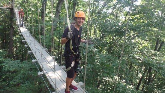 "Saluda, NC: Phil, on the ""shaky bridge"""