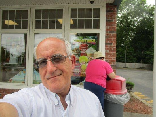 Cumberland, RI: Louis and I at Honey Dew Donuts.