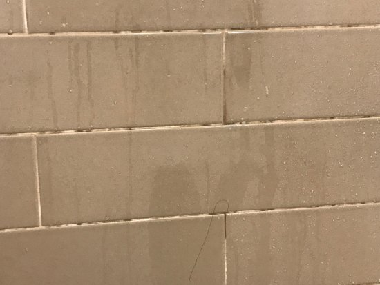 Connellsville, بنسيلفانيا: Dirty tile and grout in shower.