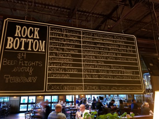 Rock Bottom Restaurant & Brwry: A beer menu board with no ABV and with a cask condition that wasn't the correct beer on cask
