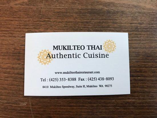Mukilteo Thai Restaurant: Business Card