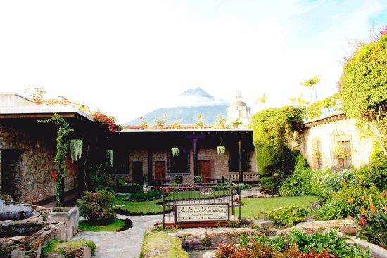 Hotel Posada de Don Rodrigo: Foto con vista al jardín y el volcán de agua de fondo