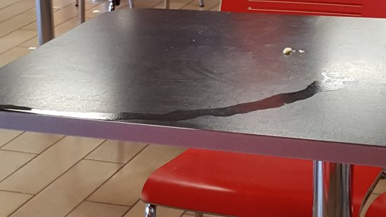 Southwaite, UK: Table remained uncleaned
