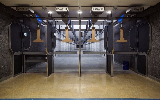 Meridian, ID: 100-yd indoor bay with state-of-the art target retrievers, ventilation, and sound absorption.