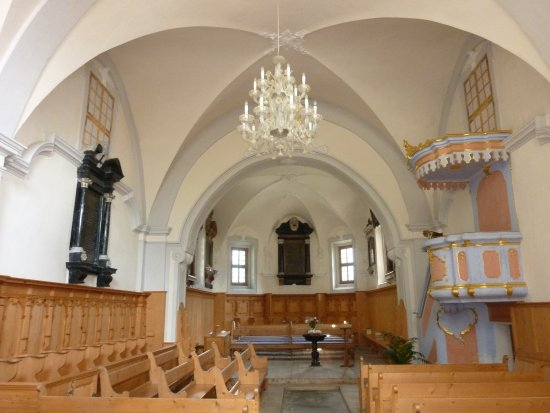 Soglio, Suiza: Innere der reformierten Kirche