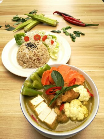 The leaf healthy Recipes: Green Curry With Rice Set