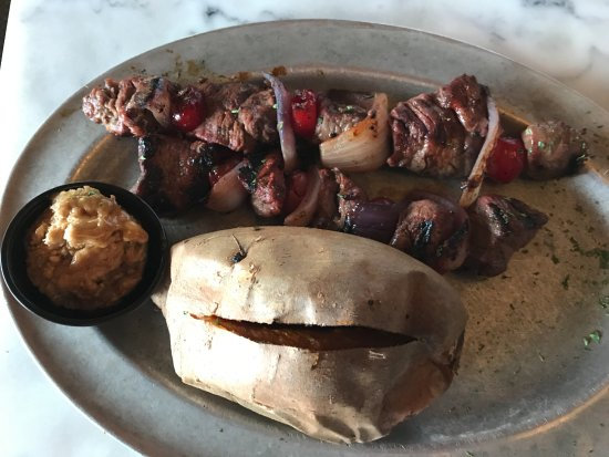 The Park Grill: Park Grill Moonshine Cherry Beef Kabobs & Sweet Potato w/ Maple Butter