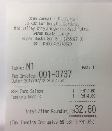 official receipt - Picture of Sushi Zanmai, Kuala Lumpur - TripAdvisor
