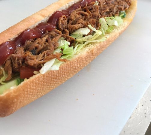 Southam, UK: Pulled pork baguette my friend had :)