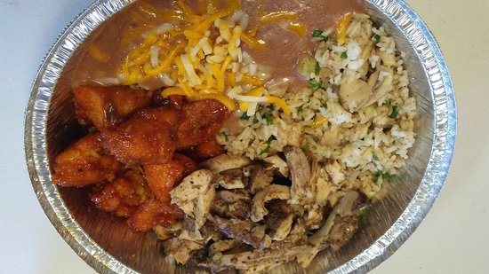 Chino Bandido: choose two meats and a rice and bean dish