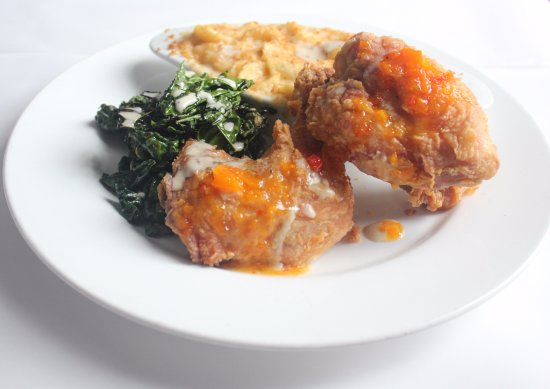 Nola Restaurant: NOLA'S BUTTERMILK FRIED CHICKEN pepper jack mac & cheese ∙ bacon smothered collard greens ∙ rose