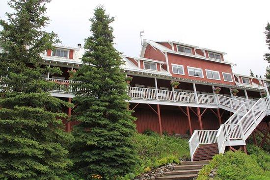 """Kennicott, AK: Blick auf das """"alte"""" Haupthaus der Lodge"""