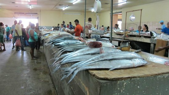 Tunapuna Market : The fish stalls from inside the inner main building.
