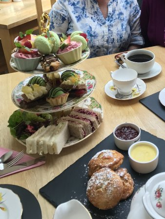 A wonderful variety of sandwiches, scones and pastries made by a very artistic French chef.