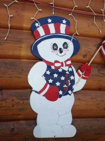 Curtis, MI: 4th of July snowman hanging out with guests