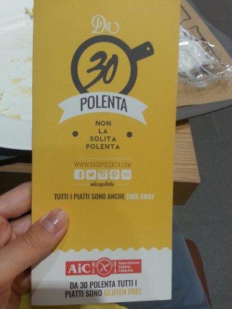 Da 30 Polenta: Menù