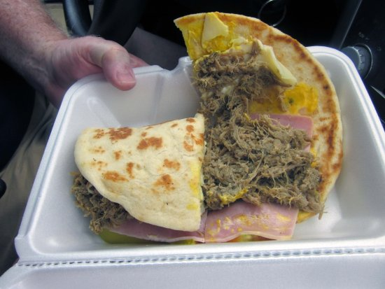 "Yardley, PA: Brazilian ""Cubano"" sandwich (ham, pulled pork, cheese, pickles & mustard)"