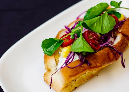 Wayzata, MN: Fried Walleye Sandwich with Grilled Sweet Corn Slaw, Pickled Peppers and Watercress Tartar Sauce