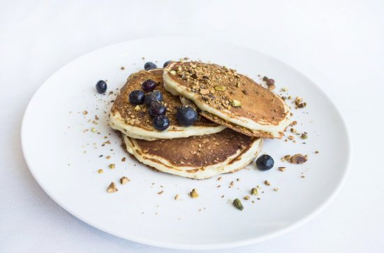 Wayzata, MN: Blueberry Pancakes with Crushed Pistachios
