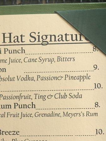 West End Village, Anguilla: Drink menu