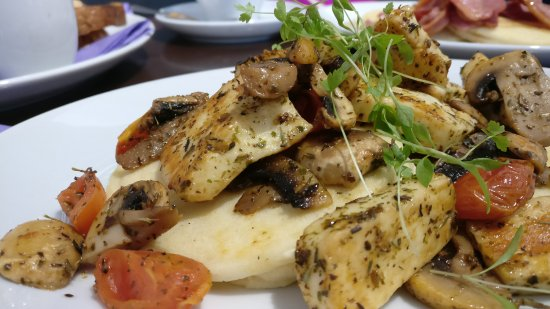 Halloumi Cheese, Mushrooms, and Tomatoes on Pancakes