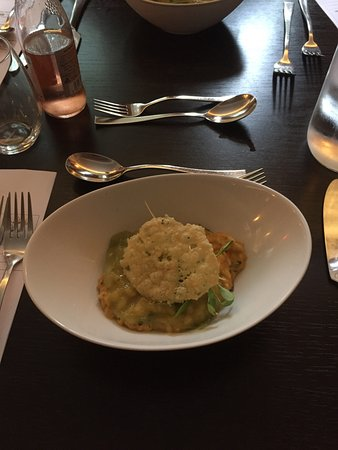 Delph, UK: Starter: Crab and lobster risotto with cucumber and ginger sorbet. Main: Toasted park fillet wit