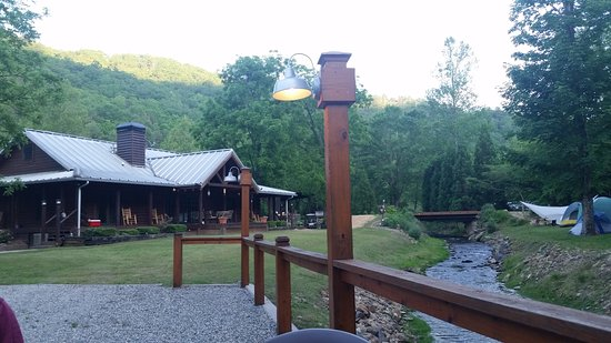 Robbinsville, NC: Sitting on the gravel deck beside the stream